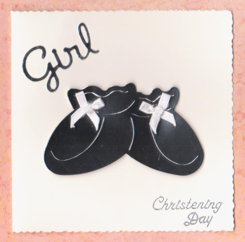 Handmade Christening Card CD3 Christening Day Booties - Girl