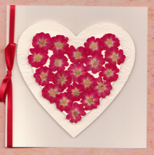 Handmade Valentine Card Real Rose Heart