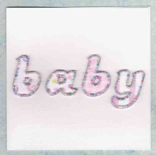 Handmade New Baby Girl Card - Beaded Baby