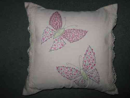 Handmade Cushion Linen & Lace Butterfly Pink
