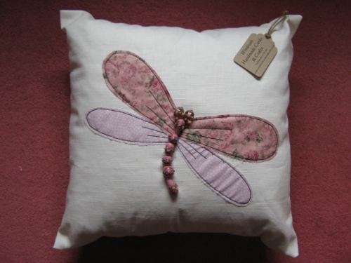 Handmade Cushion Linen Beaded Dragonfly Pink