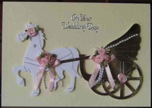 Handmade Wedding Card - WD17 Horse & Carriage - Pink