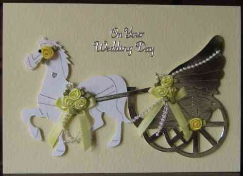 Handmade Wedding Card - WD18 Horse & Carriage - Yellow