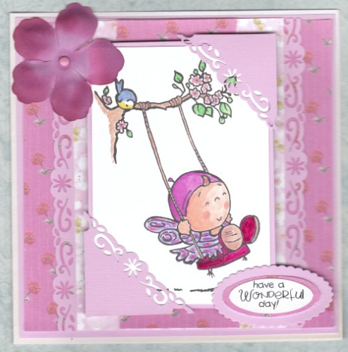 Handmade Birthday Card Fairy on Swing