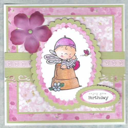 Handmade Birthday Card - Fairy on Flower Pot