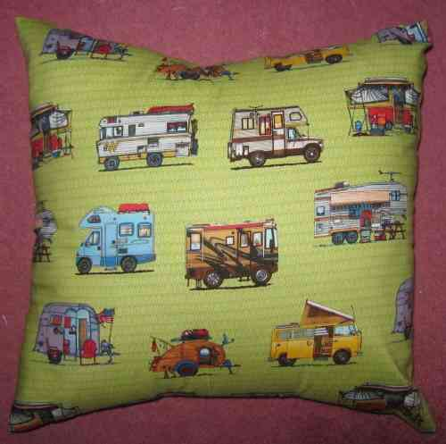 Handmade Happy Campers Cushion - Green