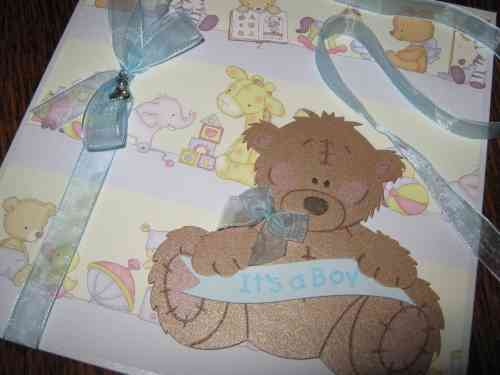 Luxury Handmade Card New Baby Boy - Tatty Teddy