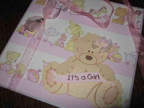 Luxury Handmade Card New Baby Girl - Tatty Teddy