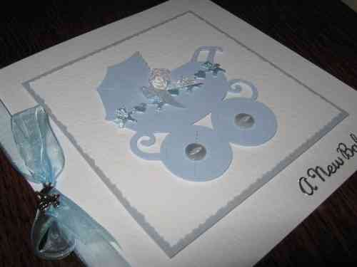 Luxury Handmade Card New Baby Boy - Pram