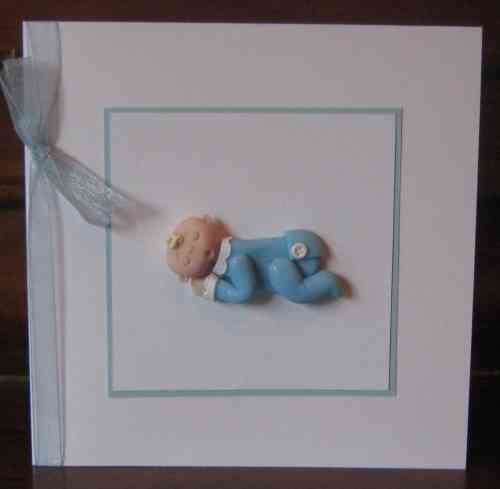 Handmade New Baby Boy Lying Card