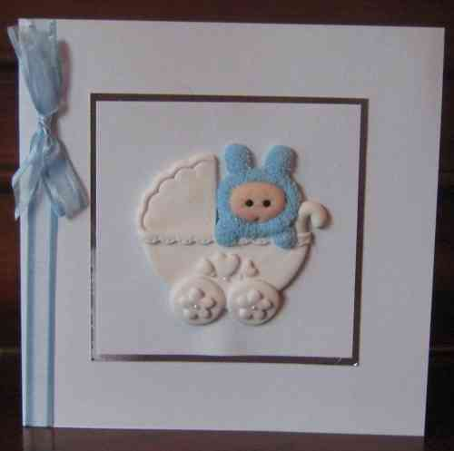 Handmade New Baby Boy in Pram Card
