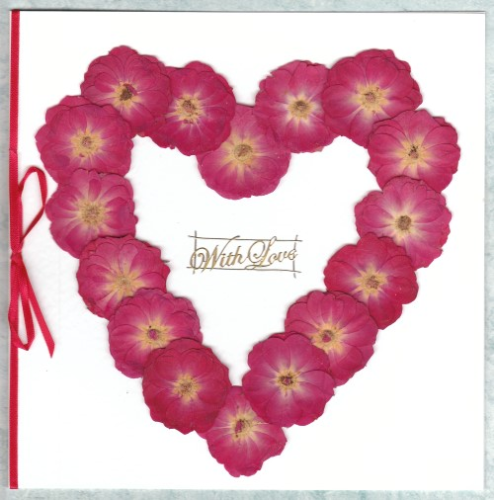 Luxury Handmade Valentine Card - Real Rose Heart Silhouette