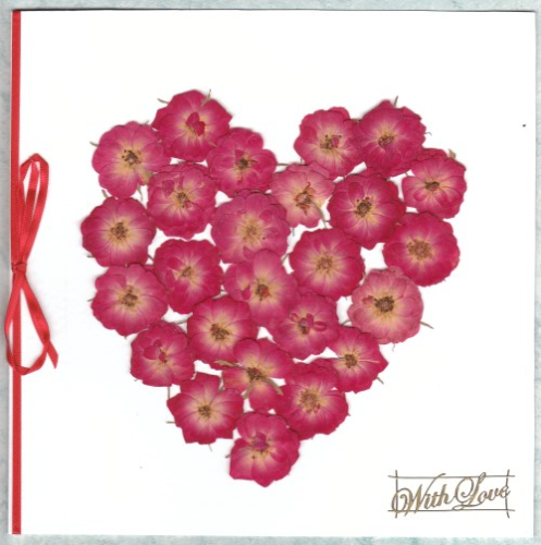 Luxury Handmade Valentine Card - Real Rose Heart