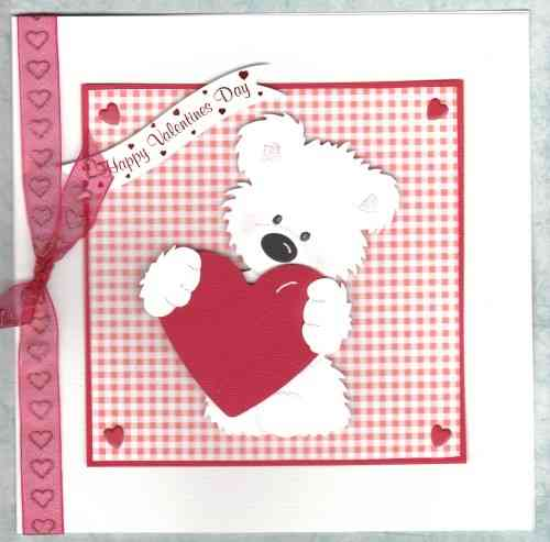Luxury Handmade Valentine Card - Tatty Teddy Standing with Heart