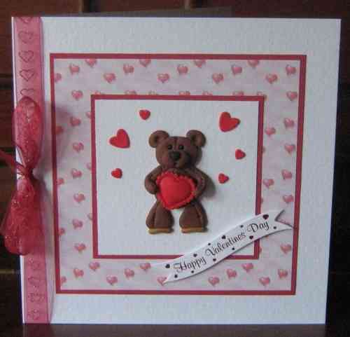 Luxury Handmade Valentine Card - Fimo Teddy with Heart
