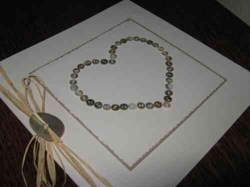 Luxury Handmade Valentine Card - Mother of Pearl Heart