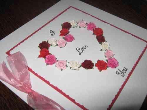 Luxury Handmade Valentine Card - Mulberry Rose Heart