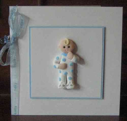 Handmade New Baby Boy Card - Ready for Bed
