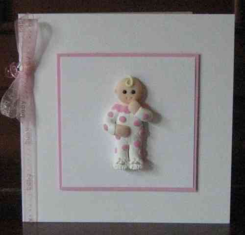 Handmade New Baby Girl Card - Ready for Bed