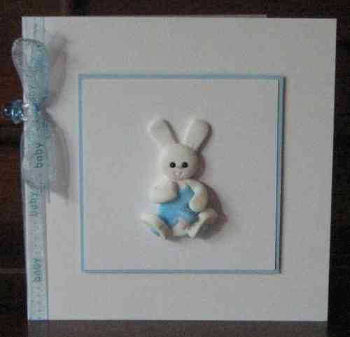 Handmade New Baby Boy Card - Baby Rabbit