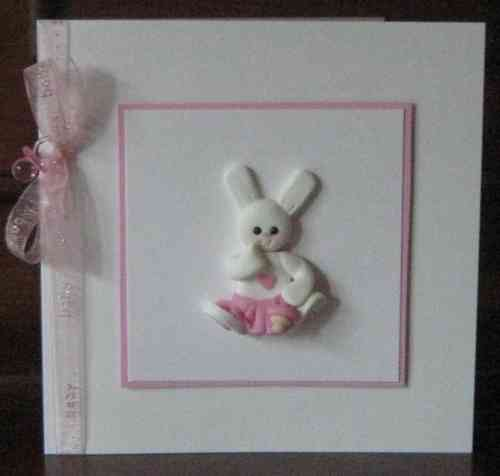 Handmade New Baby Girl Card - Baby Rabbit
