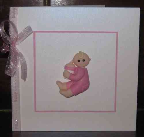 Handmade New Baby Girl Card - Sitting Baby