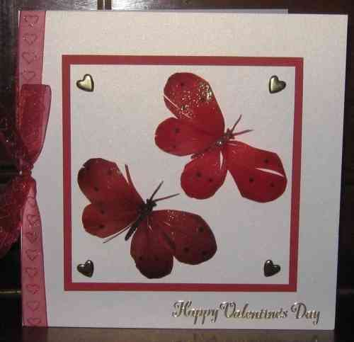 Luxury Handmade Valentine Card - Red Feather Butterflies