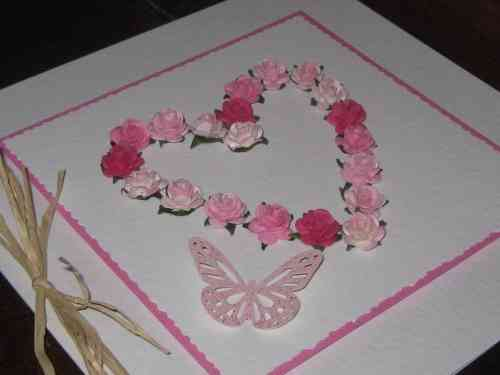 Luxury Handmade Card - Pink Mulberry Rose Heart