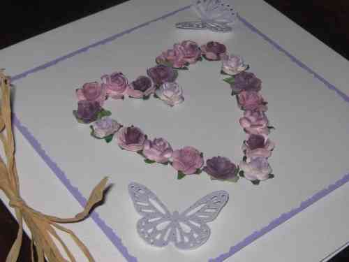 Luxury Handmade Card - Lilac Mulberry Rose Heart