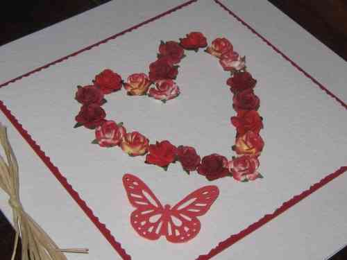 Luxury Handmade Card - Red Mulberry Rose Heart
