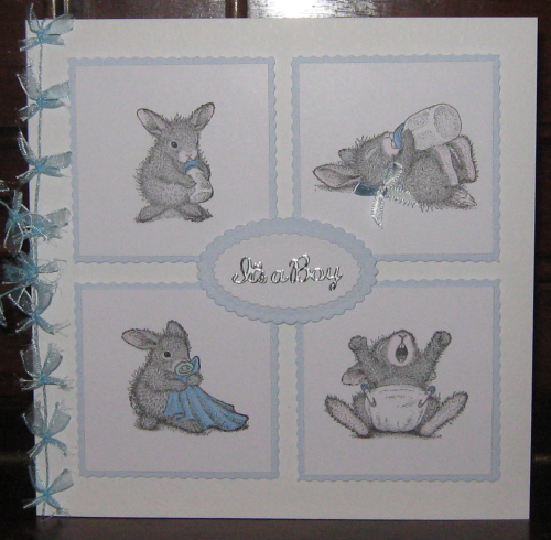 Luxury Handmade Card New Baby Boy - Baby Bunnies