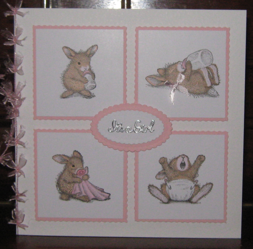 Luxury Handmade Card New Baby Girl - Baby Bunnies