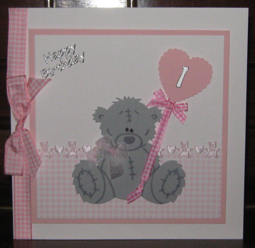 Luxury Handmade Card New Baby Girl - Scruffy Teddy with Balloon