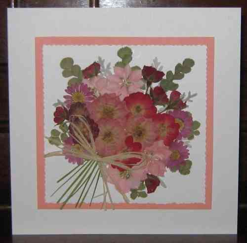 Handmade Mother's Day/Birthday Card Flower Bouquet - Pink/Red
