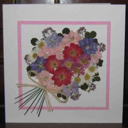 Handmade Mother's Day/Birthday Card Flower Bouquet - Pink/Lilac