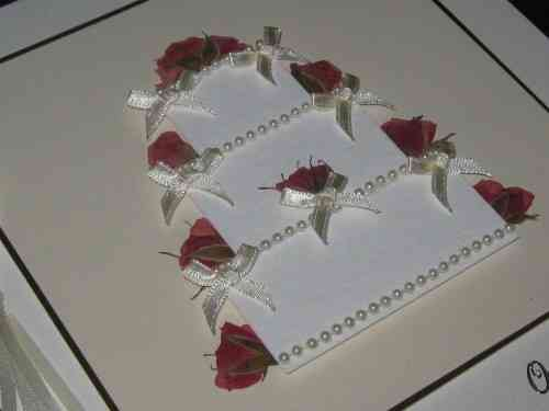 Luxury Handmade Wedding Card - Wedding Cake Real Rosebuds