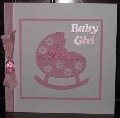 Luxury Handmade Card New Baby Girl - Crib