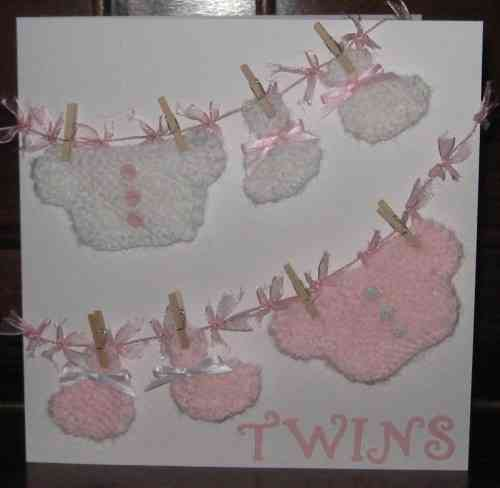 Luxury Handmade Card New Twins - Knitted Baby Girl Clothes