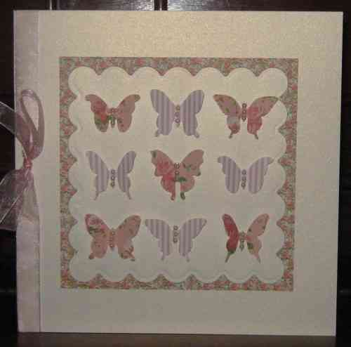 Luxury Handmade Card - Vintage Butterflies Pink