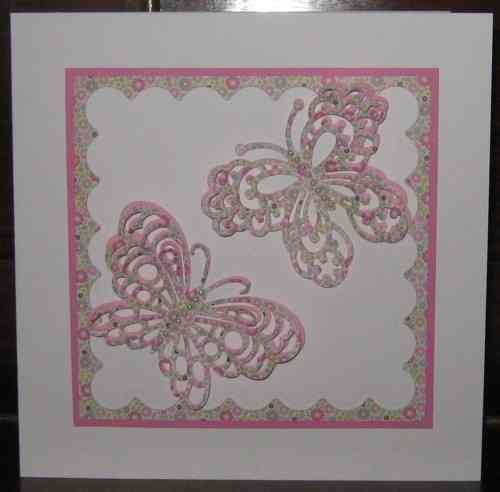 Luxury Handmade Card - Filigree Butterflies Pink