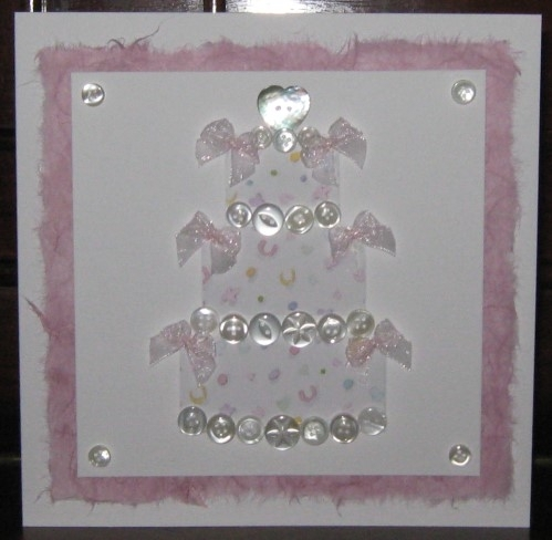 Luxury Handmade Wedding Card - Button Wedding Cake