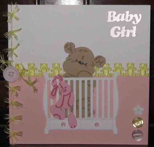 Luxury Handmade Card New Baby Girl - Baby Teddy in Cot