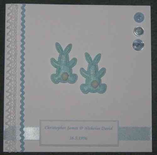 Personalised Handmade Card - Twin Baby Boy Bunnies