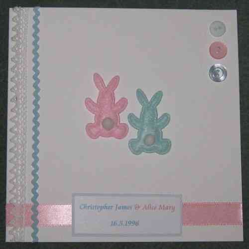 Personalised Handmade Card - Mixed Twin Baby Bunnies