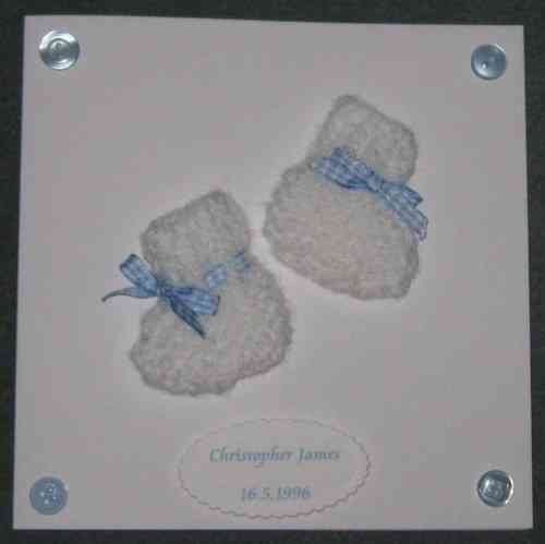 Personalised Handmade Card - Knitted Baby Boy Booties