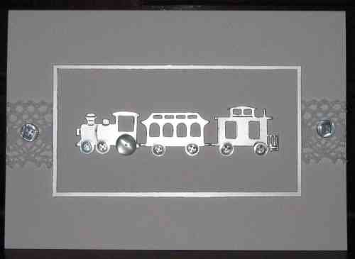 Handmade Christening Card - Christening Day Train