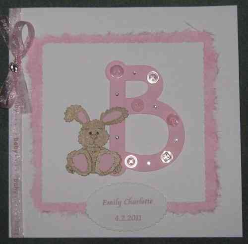 "Luxury Handmade Card New Baby Girl - ""B"" is for Baby"