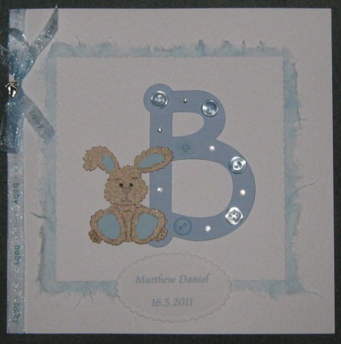 "Luxury Handmade Card New Baby Boy - ""B"" is for Baby"