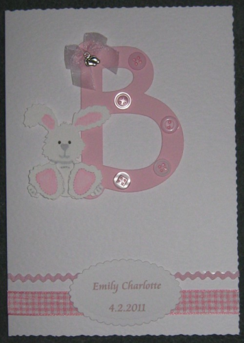 "Handmade Card New Baby Girl - ""B"" is for Baby"