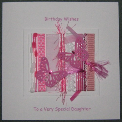 Personalised Handmade Birthday Card - Cerise Butterflies